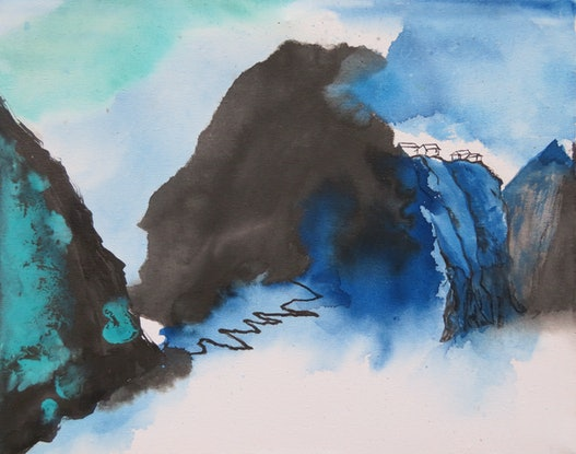 (CreativeWork) Blue & Green Landscape - Living in Seclusion 3 by Nora McLean. Watercolour Paint. Shop online at Bluethumb.