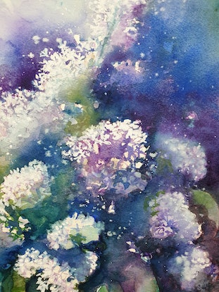 (CreativeWork) Spring Blossoms by Lucinda Leveille. Watercolour Paint. Shop online at Bluethumb.