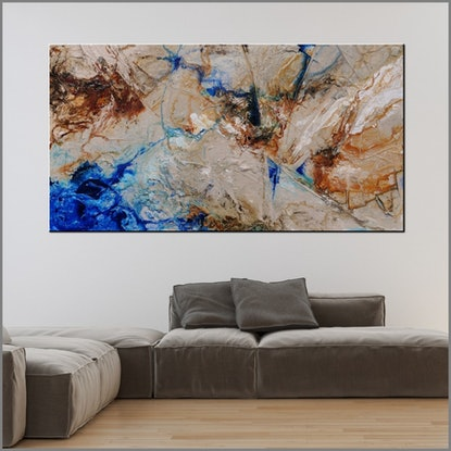 (CreativeWork) Blue Rusted 190cm x 100cm Blue Textured Ink Abstract Gloss Finish FRANKO  by _Franko _. Acrylic Paint. Shop online at Bluethumb.