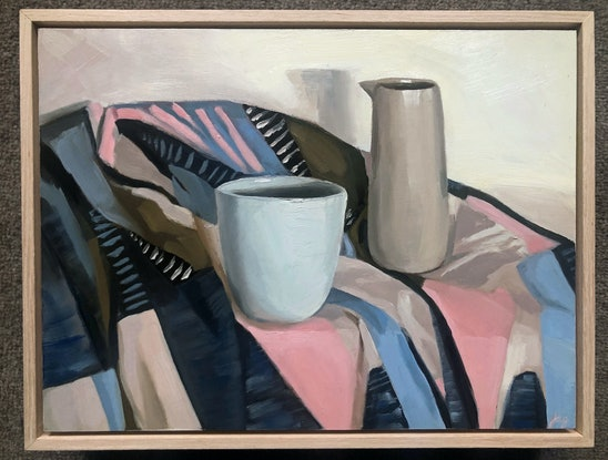 (CreativeWork) Vessels on Geo Fabric by Jessica Guthrie. Oil Paint. Shop online at Bluethumb.