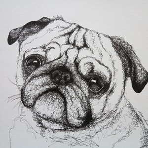 (CreativeWork) Pug Dog by Lara Louise Karpeljuk. #<Filter:0x0000564b6fd6c390>. Shop online at Bluethumb.