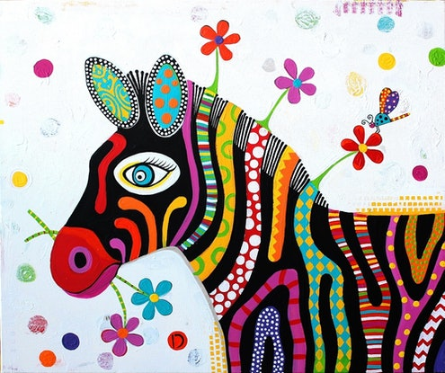 (CreativeWork) 'DOLLY' Original Painting by Donna Sharam. Acrylic Paint. Shop online at Bluethumb.
