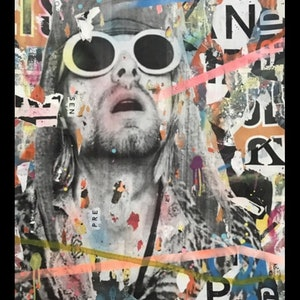 (CreativeWork) Street Icon 157 - Kurt Cobain  by Cold Ghost. mixed-media. Shop online at Bluethumb.