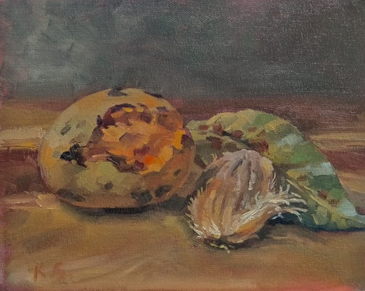 (CreativeWork) Still life for mango eaters by Katia Strounina. Oil Paint. Shop online at Bluethumb.