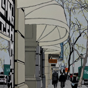(CreativeWork) Collins St, Thursday afternoon by Leigha White. oil-painting. Shop online at Bluethumb.