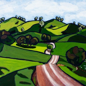 (CreativeWork) Road in the hills by James Lai. arcylic-painting. Shop online at Bluethumb.