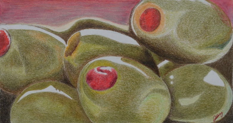 (CreativeWork) Olive Landscape by Jennifer Lacey. Drawings. Shop online at Bluethumb.