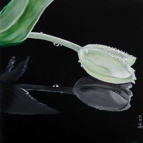 (CreativeWork) White Tulips in Reflection by julie hollis. Acrylic Paint. Shop online at Bluethumb.
