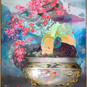 (CreativeWork) Cascading Prunus Bonsai by Amanda Krantz. acrylic-painting. Shop online at Bluethumb.