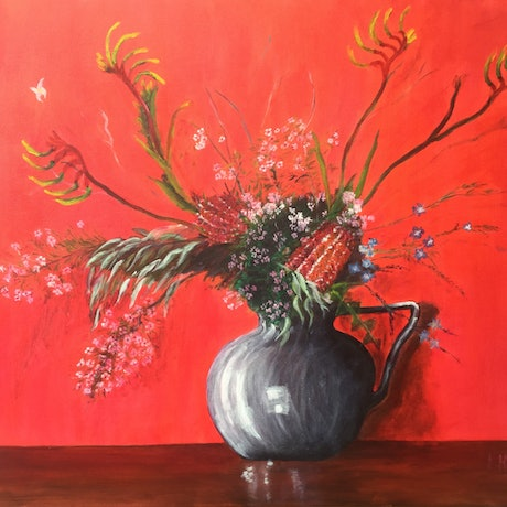 (CreativeWork) Kangaroo Paw and Geraldton Wax by Kate Hobbs. Oil Paint. Shop online at Bluethumb.