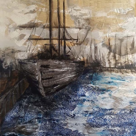 (CreativeWork) Docked - 2019 ANL Maritime Art Award Finalist by Laurie Franklin. Mixed Media. Shop online at Bluethumb.
