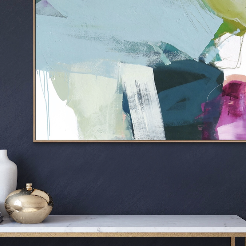 (CreativeWork) Zest - large blue pink abstract by Stephanie Laine. arcylic-painting. Shop online at Bluethumb.