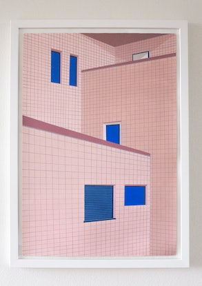 (CreativeWork) Tokyo Tiles by Bianca Wilson. Acrylic Paint. Shop online at Bluethumb.