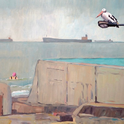 (CreativeWork) Newcastle Baths by Colin Palethorpe. oil-painting. Shop online at Bluethumb.