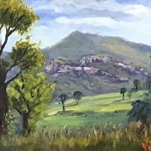 (CreativeWork) Carnarvon NP , QLD - Oil on linen board by Christopher Vidal. oil-painting. Shop online at Bluethumb.