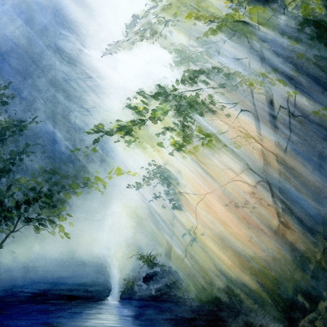 (CreativeWork) Sunrays by Cecilia Xiao. Watercolour Paint. Shop online at Bluethumb.
