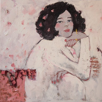 (CreativeWork) Her  by Li Zhou. oil-painting. Shop online at Bluethumb.