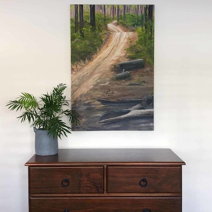(CreativeWork) THE MOUNTAIN AND MEE by Karen Collins. Oil Paint. Shop online at Bluethumb.