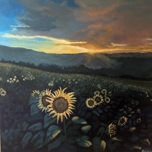 (CreativeWork) Sunflowers  by Priya Cox. acrylic-painting. Shop online at Bluethumb.