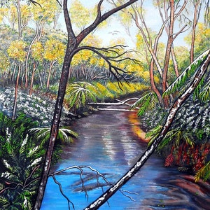 (CreativeWork) Snow at Katoomba Creek - Blue Mountains by Linda Callaghan. acrylic-painting. Shop online at Bluethumb.