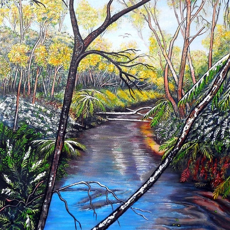 (CreativeWork) Snow at Katoomba Creek - Blue Mountains (Framed) by Linda Callaghan. Acrylic Paint. Shop online at Bluethumb.