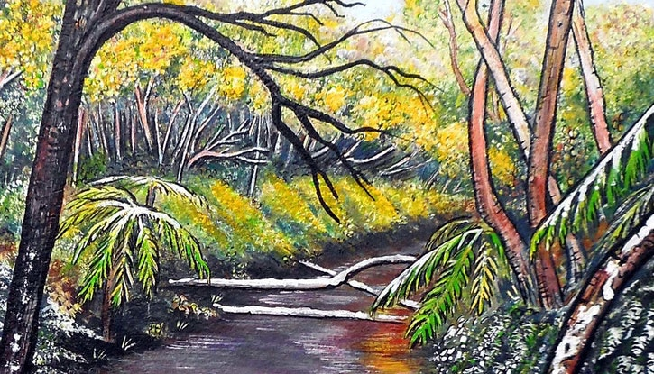 (CreativeWork) Snow at Katoomba Creek - Blue Mountains by Linda Callaghan. #<Filter:0x00005613e86fdea0>. Shop online at Bluethumb.