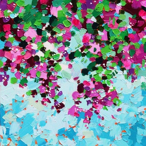 (CreativeWork) Bougainvillea - Impressionist Floral Painting by Eve Izzett. Oil Paint. Shop online at Bluethumb.
