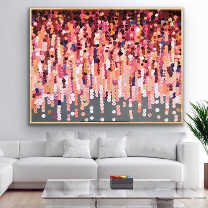 (CreativeWork) Blossom 152x102 framed large abstract by Sophie Lawrence. Acrylic Paint. Shop online at Bluethumb.