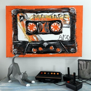 (CreativeWork) Retro Mix Tape  by Lisa Fahey. #<Filter:0x00007f0bd0761190>. Shop online at Bluethumb.