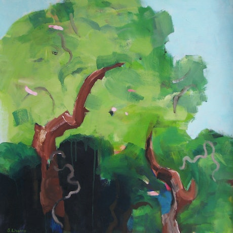 (CreativeWork) Forest gully by Susan Lhamo. Acrylic Paint. Shop online at Bluethumb.