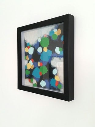 (CreativeWork) True Meaning 2 - Framed abstract 35x35x4 cm by Olga Kolesnik. Acrylic Paint. Shop online at Bluethumb.