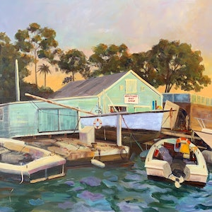 (CreativeWork) Boat shed by Shelly Du. acrylic-painting. Shop online at Bluethumb.