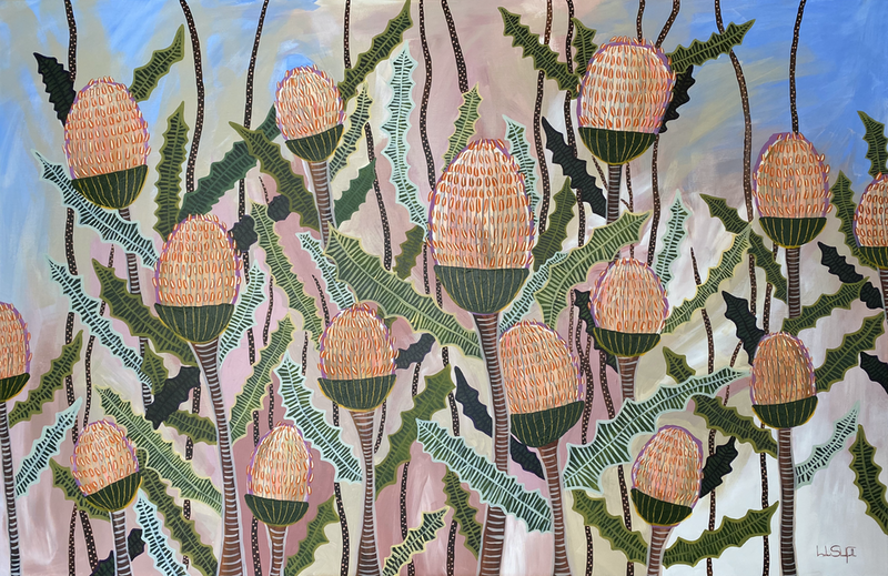 (CreativeWork) Hearts of Gold by Helen Shadforth. Acrylic Paint. Shop online at Bluethumb.