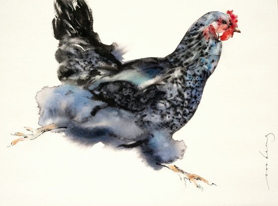 (CreativeWork) Sprint Chicken by Soo Beng Lim. Watercolour Paint. Shop online at Bluethumb.