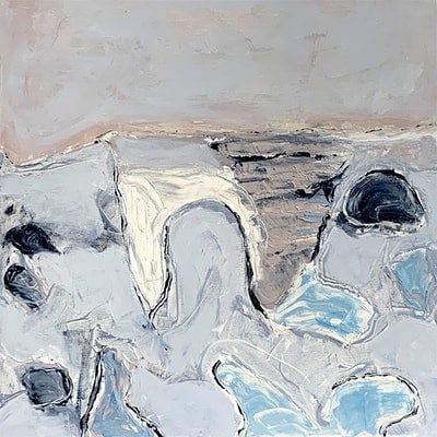 (CreativeWork) Abstract Art - Tidal Flats by Dianne Lofts-Taylor. acrylic-painting. Shop online at Bluethumb.