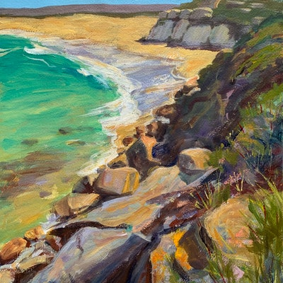 (CreativeWork) Beach end by Shelly Du. acrylic-painting. Shop online at Bluethumb.