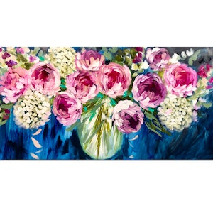 (CreativeWork) Blush peony and white hydrangea  by Amanda Brooks. acrylic-painting. Shop online at Bluethumb.