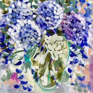 (CreativeWork) Sweet gardenia and hydrangea  by Amanda Brooks. #<Filter:0x00007fef25d12128>. Shop online at Bluethumb.