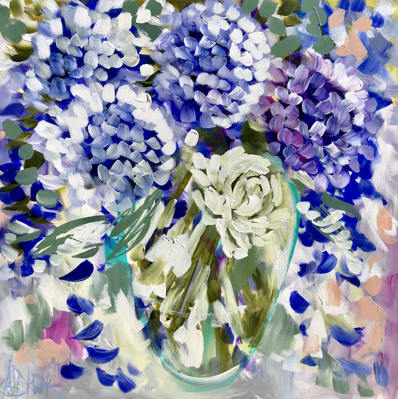 (CreativeWork) Sweet gardenia and hydrangea  by Amanda Brooks. #<Filter:0x00007f5a09e3e8f0>. Shop online at Bluethumb.