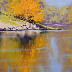 (CreativeWork) River bank colours Tumut by Graham Gercken. oil-painting. Shop online at Bluethumb.