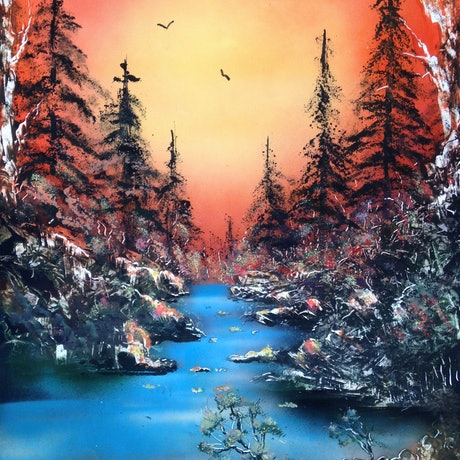 (CreativeWork) Cool Stream under Hot Evening Sky by Harry Lea. Other Media. Shop online at Bluethumb.