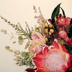 (CreativeWork) Australian Floral  - Oil on Canvas by Jose Marcote. Oil Paint. Shop online at Bluethumb.