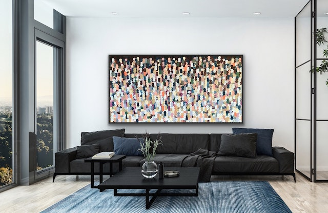 (CreativeWork) Pure 183 x 93 framed large abstract  by Sophie Lawrence. Acrylic Paint. Shop online at Bluethumb.