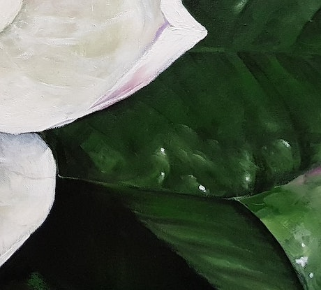 (CreativeWork) Night Magnolia by ALAN HEATHER-XIA. Oil Paint. Shop online at Bluethumb.