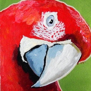 (CreativeWork) Parrot by Julie Hollis. acrylic-painting. Shop online at Bluethumb.