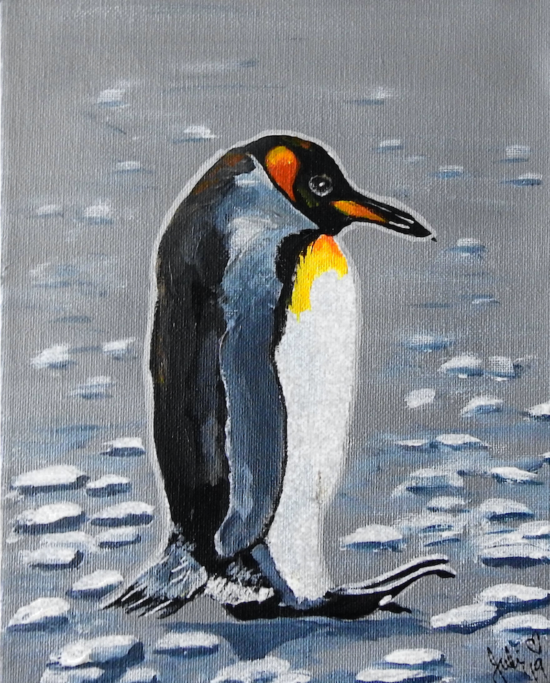 (CreativeWork) Penguin by Julie Hollis. acrylic-painting. Shop online at Bluethumb.
