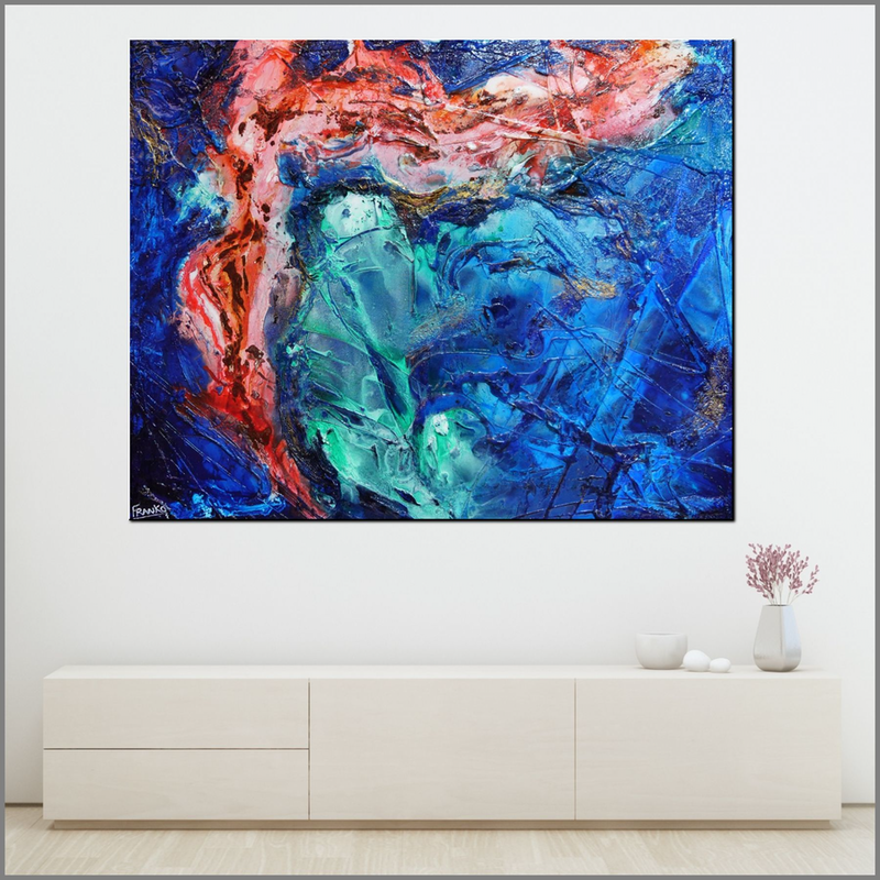 (CreativeWork) Picassos Inspiration 150cm x 120cm Blue aqua Textured Ink acrylic Abstract Gloss Finish FRANKO  by _Franko _. Acrylic Paint. Shop online at Bluethumb.