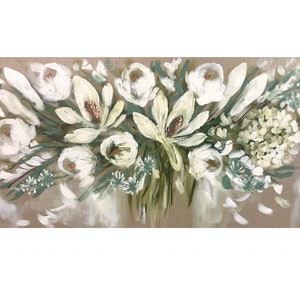 (CreativeWork) Winter white blooms  by Amanda Brooks. acrylic-painting. Shop online at Bluethumb.
