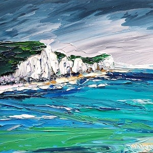 (CreativeWork) White Cliffs Of Dover  - FRAMED - Beach Art by Angela Hawkey. Oil Paint. Shop online at Bluethumb.