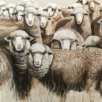 (CreativeWork) SHEEP IN WINTER PASTURE by LOUISE GROVE WIECHERS. Acrylic Paint. Shop online at Bluethumb.